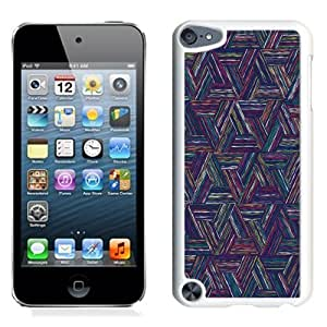NEW Unique Custom Designed iPod Touch 5 Phone Case With Triangle Colored Lines Digital Art Pattern_White Phone Case
