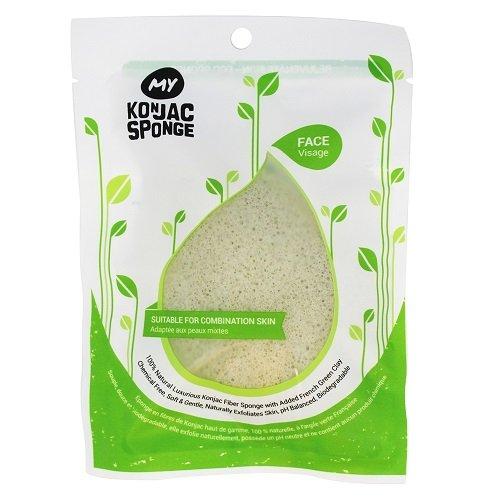 My Konjac Sponge All Natural Fiber French Green Clay Facial Sponge