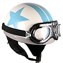 Goggles Vintage German Style Half Helmet (White/Blue Star,One size(56-58cm) : Ear muffle Bike Racing Motorcycle Cruiser Scooter Touring Accessories Cruiser Scooter Touring Helmet