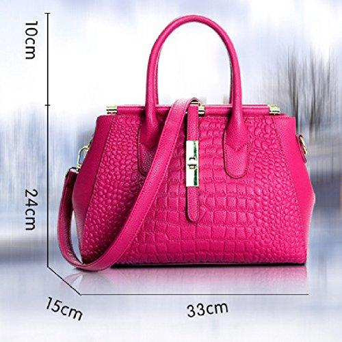 A Rosa Borse In Reale Tracolla Capacità Di Pelle Grande Colore Borsello Dell'annata Acquisto Borsa Donna Xf06qWw5n