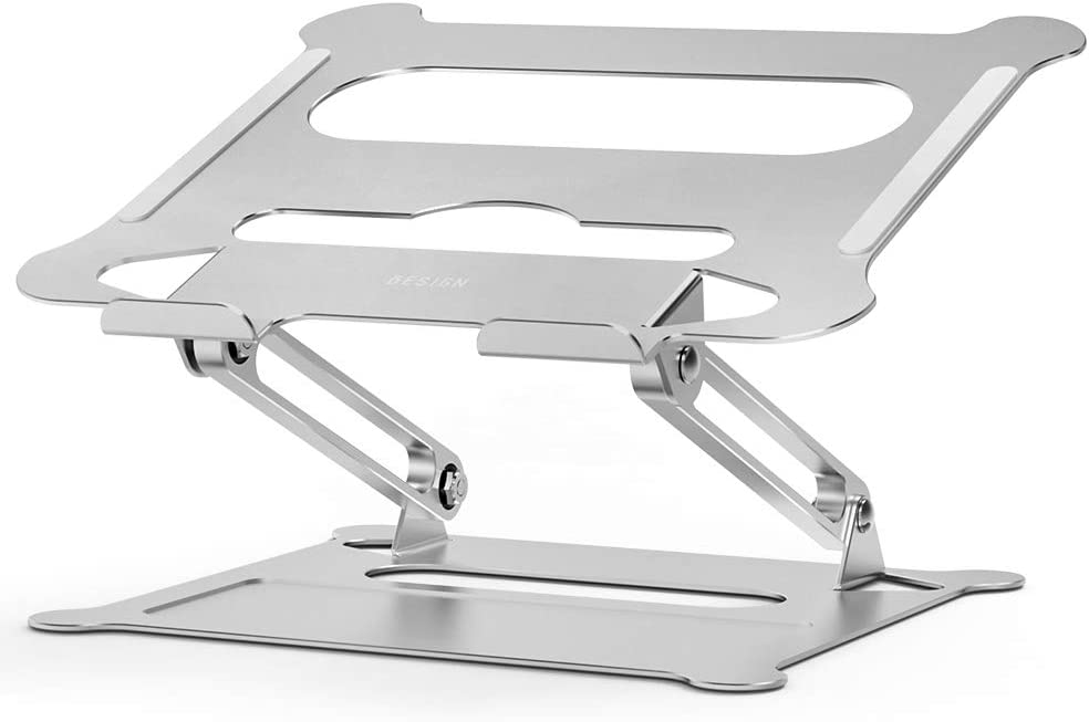 "Besign LS05 Aluminum Laptop Stand, Ergonomic Adjustable Notebook Stand, Riser Holder Computer Stand Compatible with MacBook Air Pro, Dell, HP, Lenovo More 10-15.6"" Laptops (Silver)"