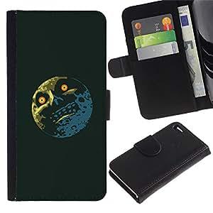 KLONGSHOP // Tirón de la caja Cartera de cuero con ranuras para tarjetas - Troll Meme Lol Luna divertido - Apple Iphone 4 / 4S //