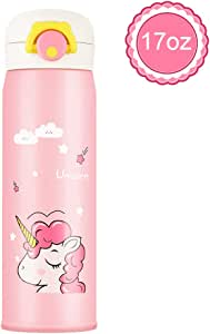 CREUSA Kids Water Bottle, 17 Ounce BPA Free Thermoses Stainless Steel Leak Proof Vacuum Cup Insulated Water Flask Reusable Drink Bottle for School Kids Girls Lunch Bag (Pink)