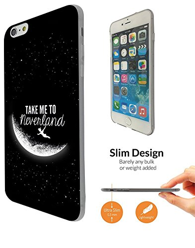 """000021 - Cool Funky Moon Take Me To Neverland Design iphone 6 6S 4.7"""" Fashion Trend Leichtgewicht Hülle Ultra Slim 0.3MM Kunststoff Kanten und Rückseite Protection Hülle - Clear"""