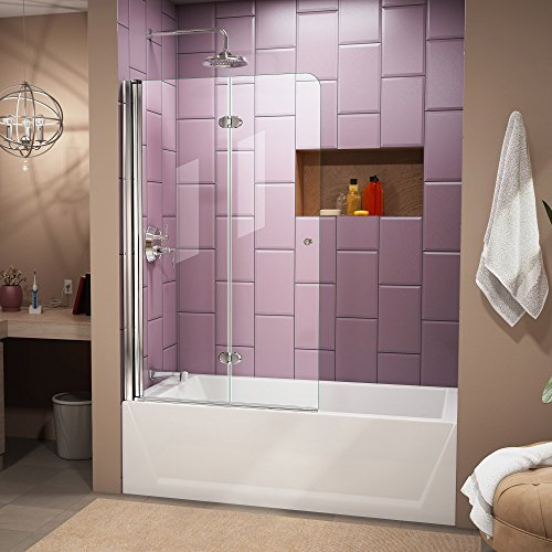 (DreamLine Aqua Fold 36 in. W x 58 in. H Frameless Bi-Fold Tub Door in Chrome, SHDR-3636580-01)