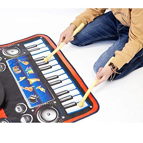 2-in-1 Functional Drum & Piano Foldable Music Mat with 5 Piece Drum, 2 Drum Sticks, 14 Demos, 24 Key Piano Keyboard with 8 Different Recordable Musical Instruments, Powerful Speakers with 3.5mm Aux Co by Toner Depot (Image #2)