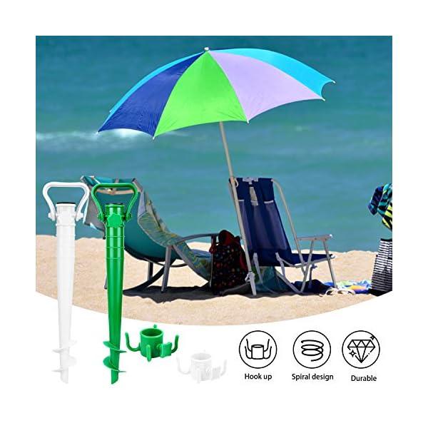 Beabro 2 Pezzi Picchetto di Supporto per ombrellone Mare Spiaggia Vacanze Sole Giardino Punta Terra Sabbia Trivella… 3 spesavip