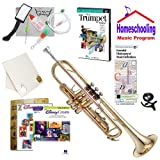 Homeschool Music - Learn to Play the Trumpet Pack (Disney Music Book Bundle) - Includes Student Trumpet w/Case, DVD, Books & All Inclusive Learning Essentials