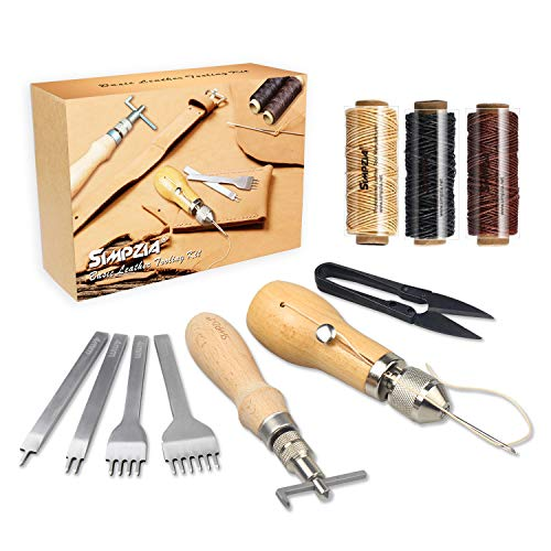 - Leather Sewing Kits SIMPZIA Leather Stitching Tools, Leather Tools and Supplies with Hand Stitcher Sewing Awl Kit, Adjustable Stitching Groover, Prong Punch for Leather Craft