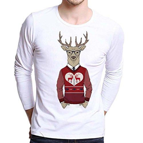 (kaifongfu Blouse Men Plus Size Christmas Printing Tees Shirt Long Sleeve T Shirt (Red, XS))