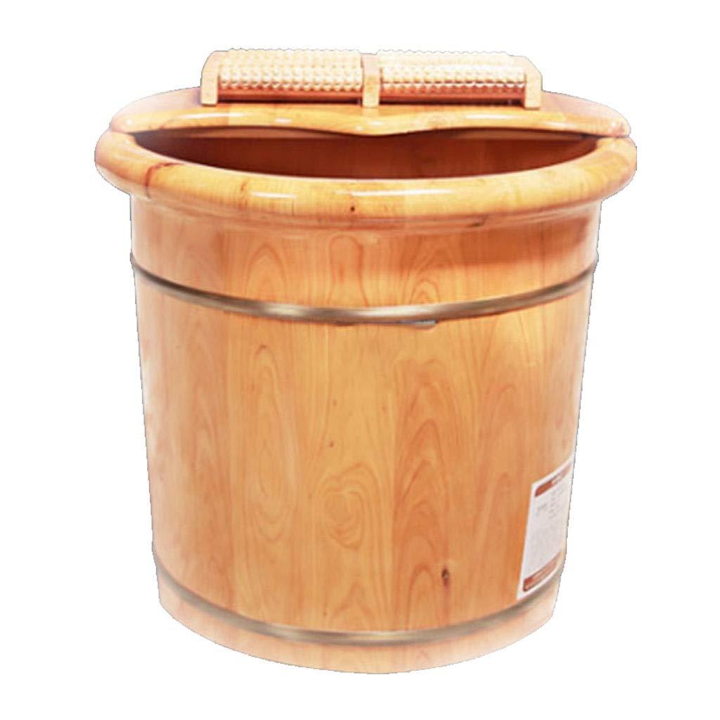 マッサージクッション 足浴槽バレル 杉の木ふた付き浴槽バレル 木製の足浴槽 色暖かい 自然な快適さ 睡眠の改善 血液循環の促進 ギフト (Color : Wood color, Size : 41x40cm) B07TTHLFHK Wood color 41x40cm