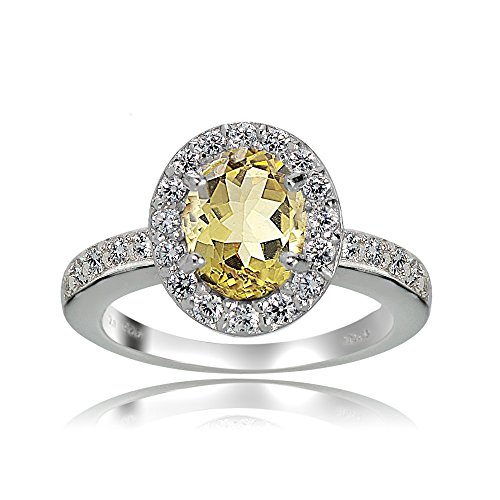 Sterling Silver Citrine and White Topaz Oval Halo Ring