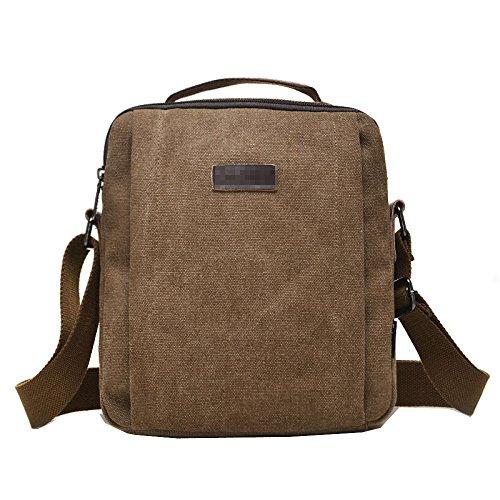 Canvas Crossbody Men's Multi Shoulder Coffee Travel Messenger Bag Boy Bags Fashion Zipped Pocket ffRU5qwv