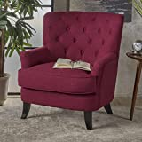 Annelia Tufted Deep Red Fabric Club Chair