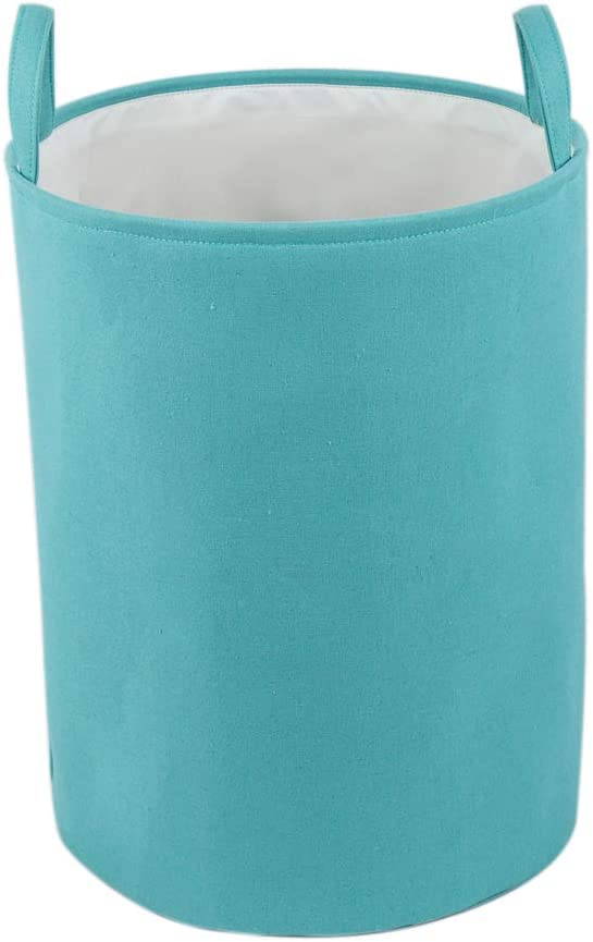 "Every Deco Round Cylinder Wire Metal Frame Dual Fabric Laundry Basket Hamper Bin Storage Collapsible Fold-able Organization Toys Clothes - 17.7"" H/Medium - Turquoise"