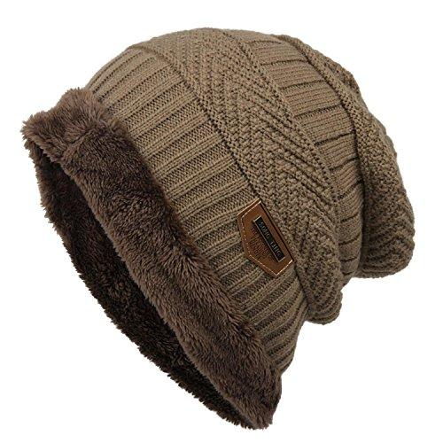 Tiowea Women Men Fashion Fleece Contrast Color Beanie Knitted Warm Winter Hats & Caps
