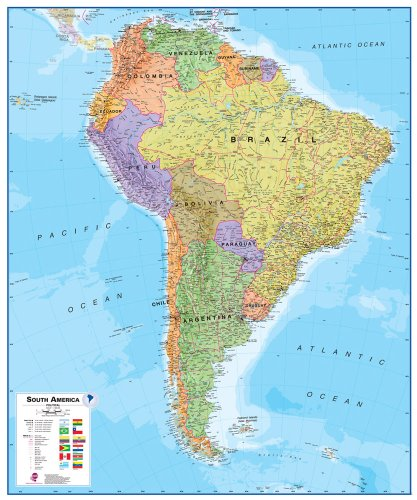 Omega National Maps International South America Wall Map (Laminated)