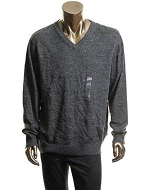 Men's V-neck Pullover Long Sleeve Sweater Gray Small