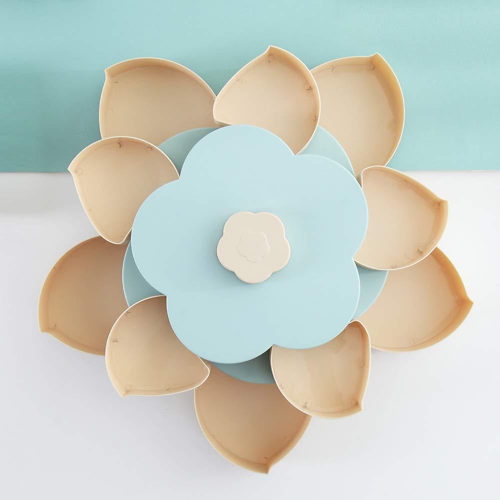 omufipw Bloom Flower Rotaci/ón Snack Box Tuerca Taz/ón Tabla Dulces Almacenamiento de alimentos Organizador de joyer/ía
