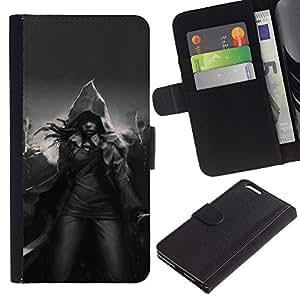 iKiki Tech / Cartera Funda Carcasa - Magic Hood Black White Mystical - Apple iPhone 6 Plus 5.5