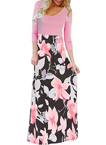 BLUETIME Women's Summer Boho Sleeveless Floral Print Tank Long Maxi Dress (T-Pink, -