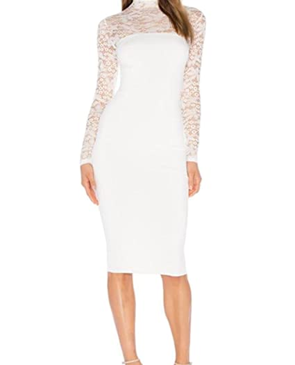 6ef967cb0c2a5 Sheng Xi Womens Long Sleeve High Neck Lace Bodycon Cocktail Dress White XS