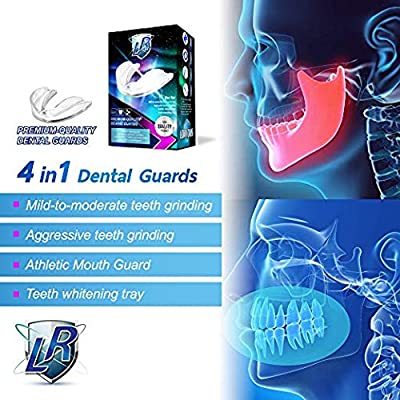 LORIOUS Mouthguard - One Size Fits All Premium Set of 4 BPA Free Moldable, Customizable and Trimmable Medical Grade Mouth guard for Grinding Teeth Clenching Bruxism, Sport Athletic, Whitening Tray