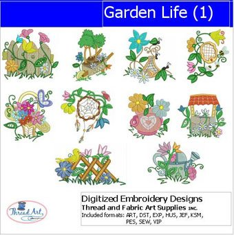 Threadart Machine Embroidery Designs - Garden Life(1) - USB Stick