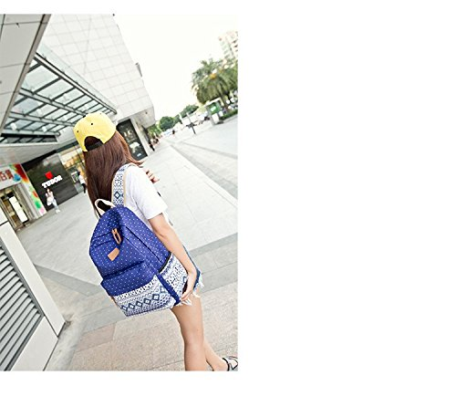 Minetom Lona Backpack Mochilas Escolares Mochila Escolar Casual Bolsa Viaje Moda Estilo Étnico Color Sólido Mujer Azul
