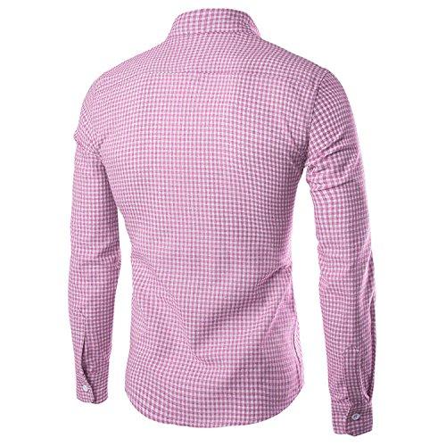 Lunga Casuale Cotone Uomini Fit Nutexrol Manica Vestito Slim Del Plaid Rosa Camicie wxqF48qf