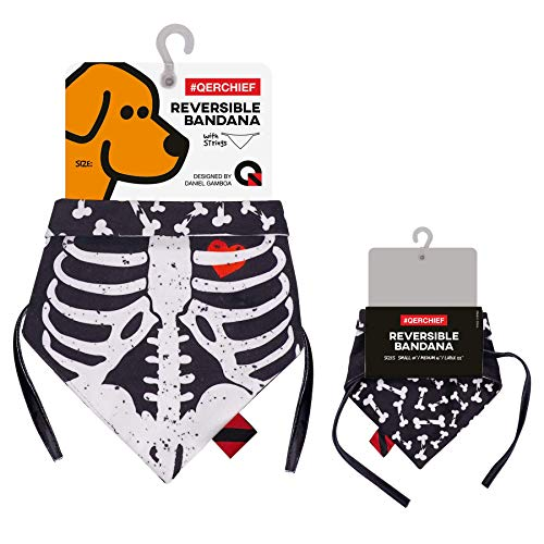 (QERCHIEF Bones Skeleton Reversible Dog Bandana Bibs Scarf Accessories Perfect for Dogs and Baby Puppies.)