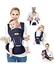 Viedouce Bärsele ergonomisk för nyfödda, ren bomull framifrån barnbärare med avtagbar huva flerställs mjuk ryggsäckshållare, komplett säkerhetsskydd (0–48 månader)