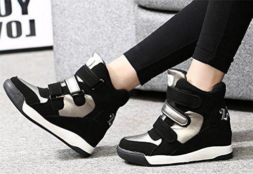 Kvinna Avslappnad Hög Topp Dolda Hälkilar Plattform Mode Sneakers Svart