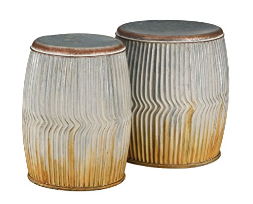 Regal Art & Gift Galvanized Ridges Garden Stool (Set of 2) (Galvanized Garden Stool)