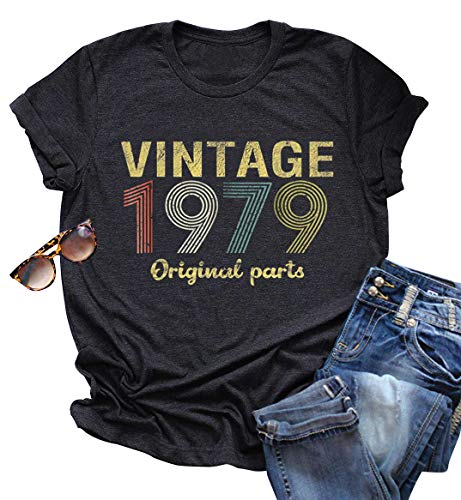 Vintage Ladies T-shirt - Vintage 1979 Rock Music T Shirt Tops for Women 40 Birthday Gift Short Sleeve Casual Tees Cute Letter Graphic T-Shirt (XX-Large, Dark Grey)