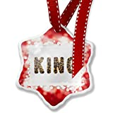 Christmas Ornament King Cheetah Cat Animal Print, red - Neonblond
