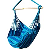 Image of Prime Garden Seaside Stripe Soft Comfort Hanging Rope Hammock Chair for Any Indoor or Outdoor Spaces -- Max. 275 Lbs/Seaside Blue Stripe