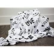 100% Organic Muslin Swaddle Blanket by ADDISON BELLE - Oversized 47 inches x 47 inches - Best Baby Shower Gift - Premium Receiving Blanket (Love, Monochrome Print)