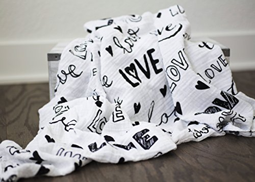 100% Organic Muslin Swaddle Blanket by ADDISON BELLE - Oversized 47 inches x 47 inches - Best Baby Shower Gift - Premium Receiving Blanket (Love, Monochrome Print) by ADDISON BELLE