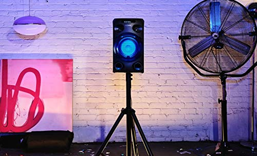 Bluetooth, Sonido de Graves de Largo Alcance Jet Bass Booster, luz Azul, Entrada de Guitarra y Karaoke Sistema de Audio de Alta Potencia Negro Sony MHC-V02