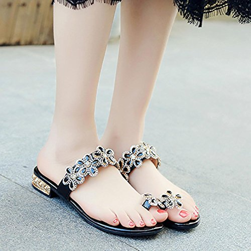Colorful TM Fashion Women Teenager Girl Rhinestone Floral Open Toe Shoes Bohemia Anti Skidding Low Heel Slippers Black RJOnlrgfQS