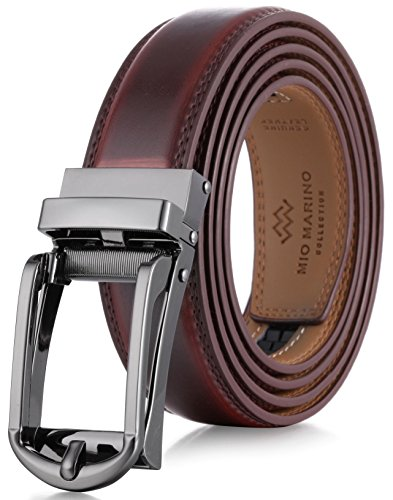 Marino Men's Genuine Leather Ratchet Dress Belt with Open Linxx Buckle, Enclosed in an Elegant Gift Box - Mahogany - Style 69 - Custom: Up to 44