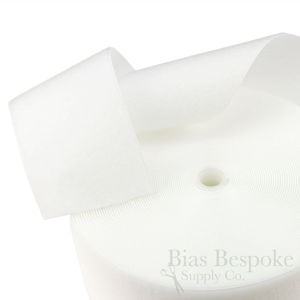27 Yard Rolls of White Sew-on Hook and Loop Fastening Tape, 4'' Wide by Bias Bespoke