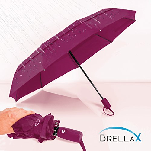 Compact Travel Umbrella by Brellax - Lightweight, Windproof, Reinforced Double Canopy, Auto Open / Close Folding, Ergonomic Handle, Carrying Case Included - Purple