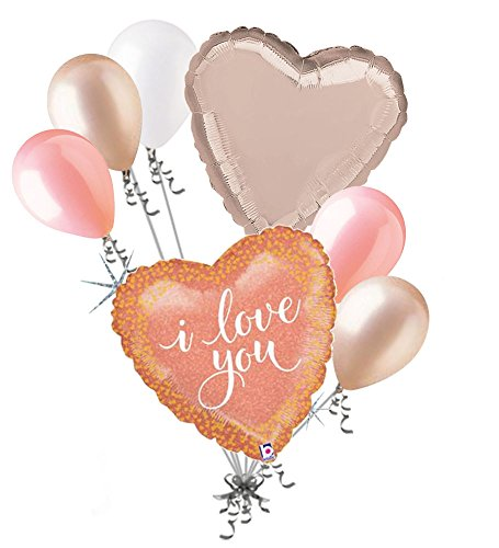 - 7pc I Love You Pink Rose Gold Happy Valentines Day Balloon Bouquet Mine Hug Kiss