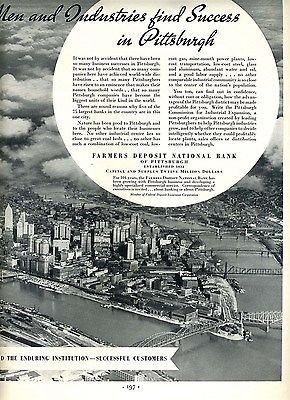 Pittsburgh Pennsylvania 3 Rivers Farmers Deposit National Bank Magazine Ad 1950
