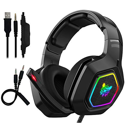 RGB Gaming Headset – Maxesla Gaming Headphone PC USB 3.5mm PS4/Xbox/PC Headsets with 50MM Driver, Surround Sound & HD…