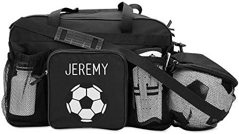 Black Soccer Kids Personalized Medium Duffel Bag by Lillian Vernon, 19 Long, Kids Soccer Bag