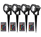 Lemonbest Outdoor Decorative Lamp Lighting RGB 10W Color Changing LED Landscape Garden Wall Yard Path Lawn Light DC 12C w/ Spiked Stand Remote control, Pack of 4