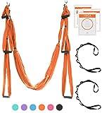 UpCircleSeven Aerial Yoga Swing Set - Yoga Hammock/Trapeze/Sling Kit + Extension Straps & eBook - Antigravity Ceiling Hanging Yoga Sling - Inversion Swing for Beginners & Kids